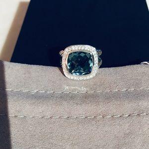 David Yurman 14mm Prasolite Diamond Ring Size 8
